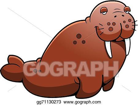 Vector stock cartoon illustration. Walrus clipart brown