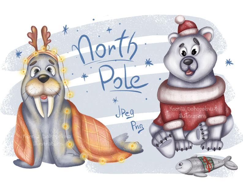 White bear illustration north. Walrus clipart christmas