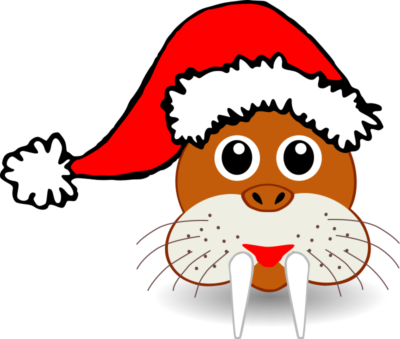 walrus clipart christmas