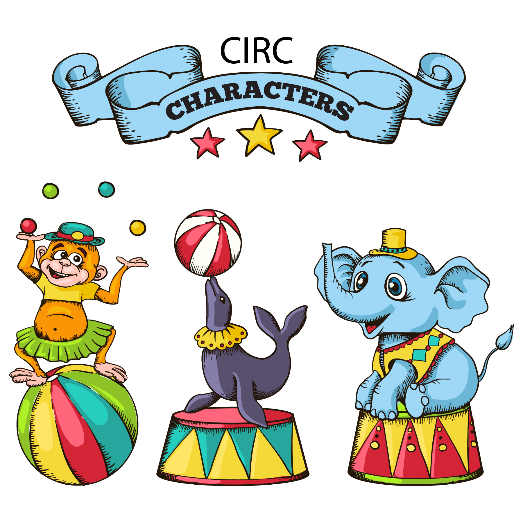 Walrus clipart vector. Circus cartoon animals material