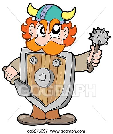 Stock illustration angry viking. Warrior clipart