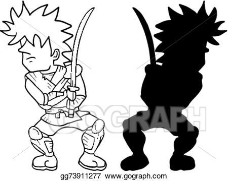 Eps illustration shadow vector. Warrior clipart boy
