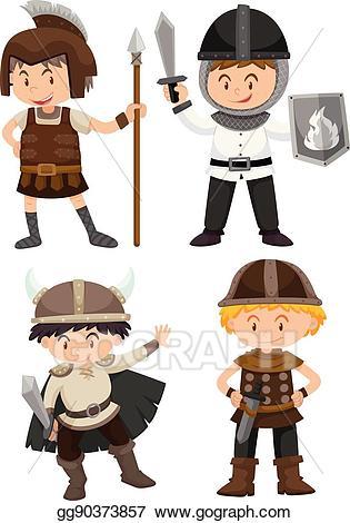 Eps illustration four kids. Warrior clipart boy