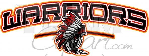 Indian warriors shirt logo. Warrior clipart design