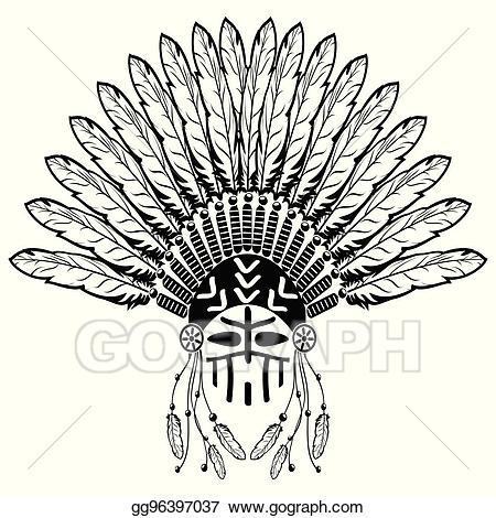 Vector art with headdress. Warrior clipart ethnic