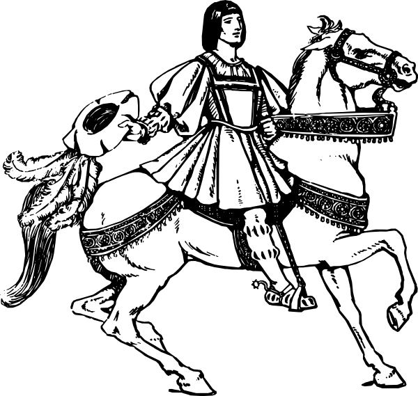 Warrior clipart line. Middle age on horse