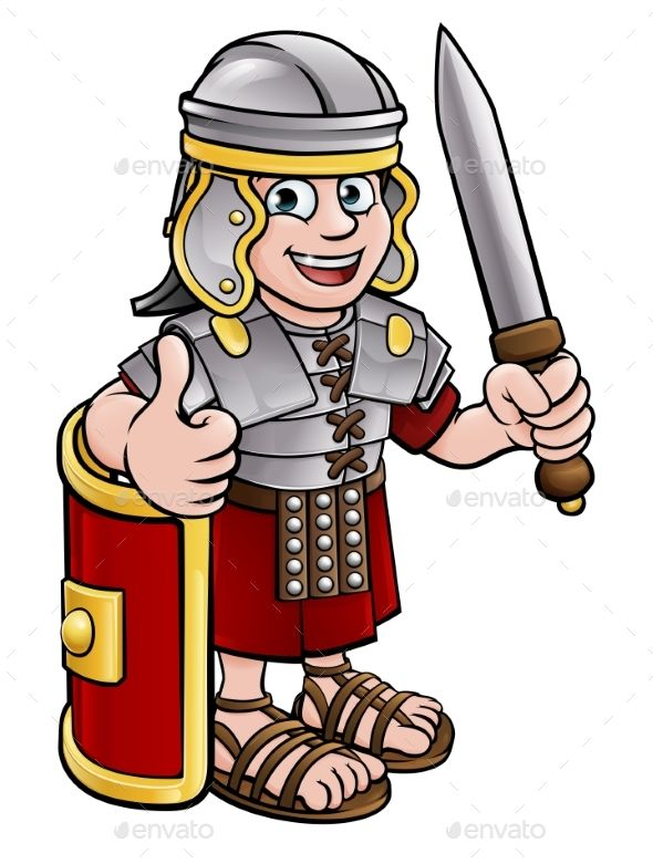 Cartoon soldier character a. Warrior clipart military roman