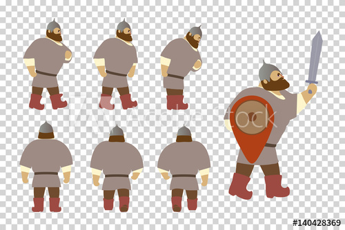 A set of cartoon. Warrior clipart old soldier