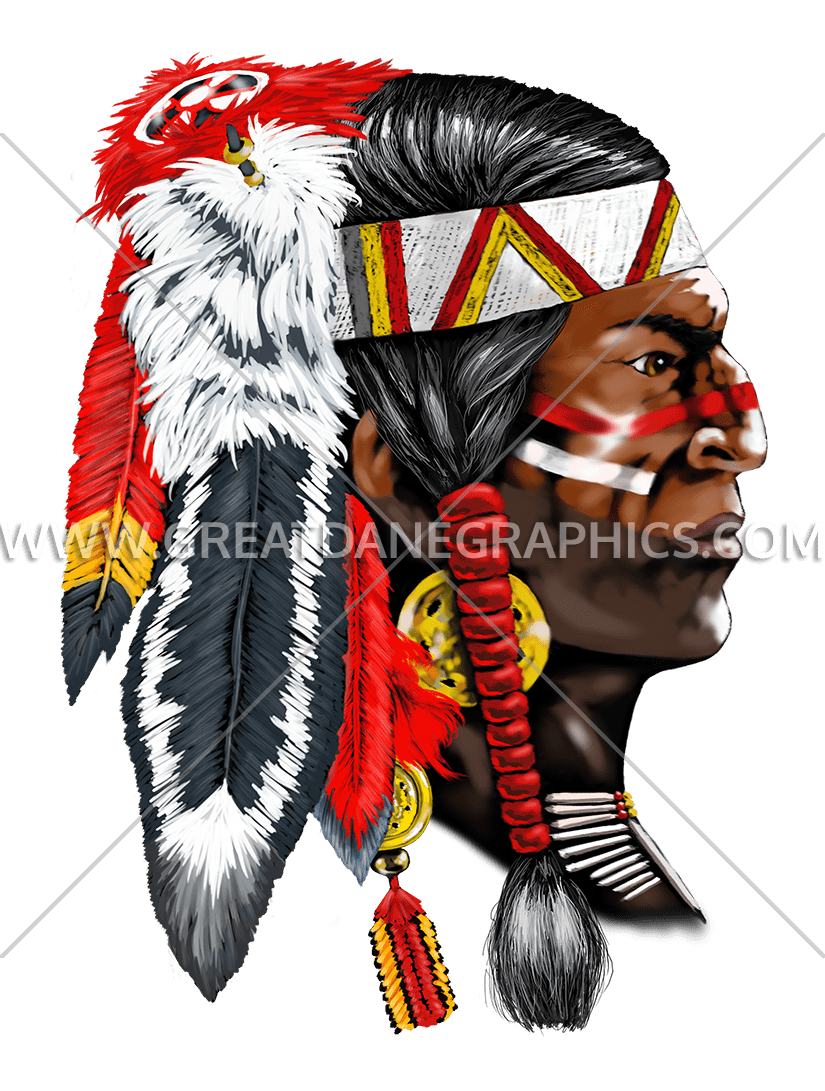 Indian production ready artwork. Warrior clipart red