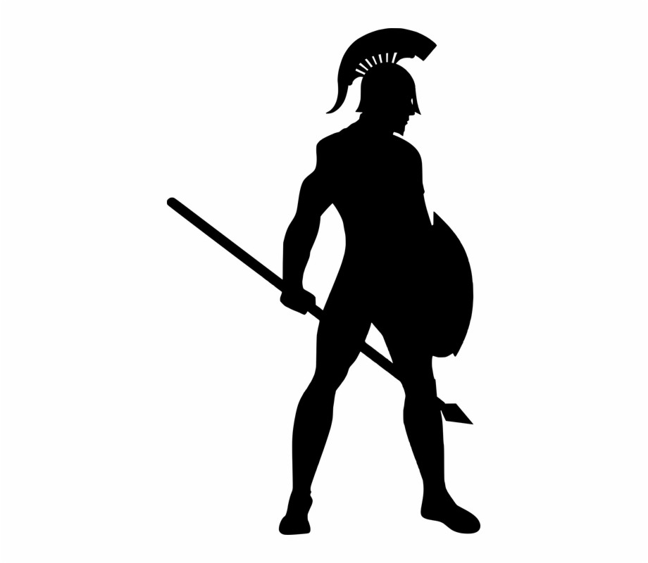 Warrior clipart silhouette. Spartan army roman soldier