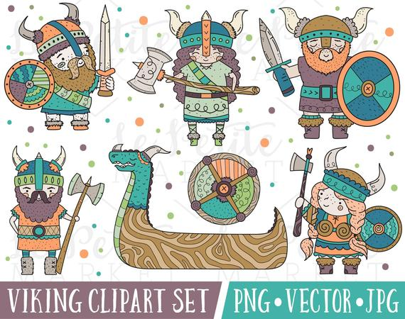 Set cute illustrations clip. Warrior clipart viking iceland