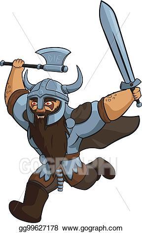 Vector angry illustration . Warrior clipart viking man