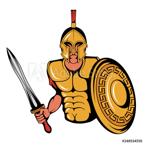 Warrior clipart weapon roman. Spartan mascot graphic with
