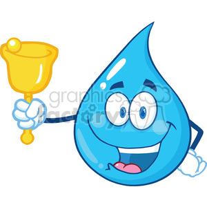 Drop waving a bell. Water clipart character