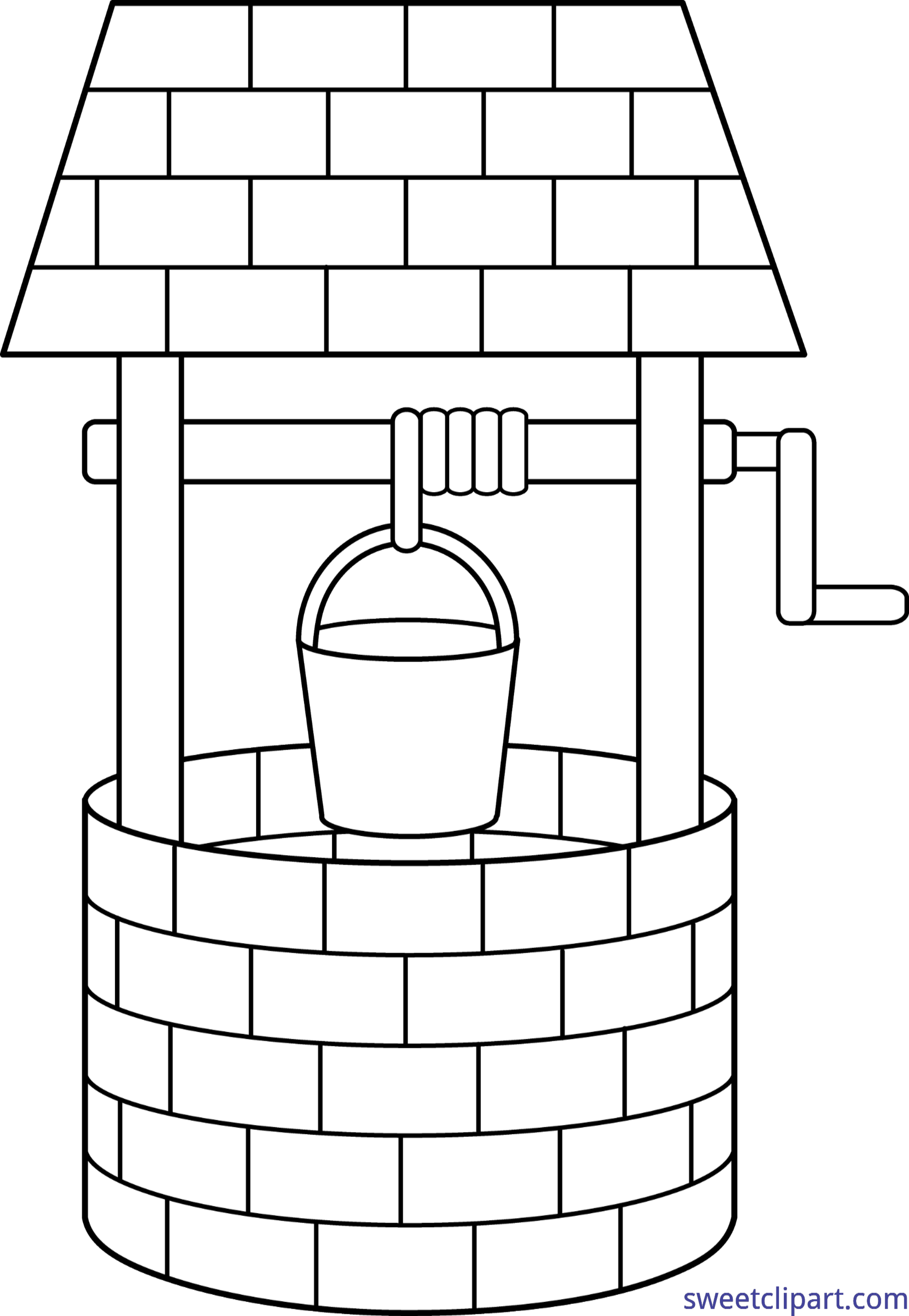 Xylophone clipart water. Wishing well lineart clip