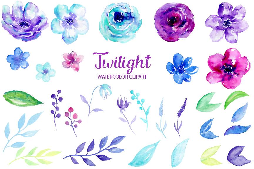 Watercolor clipart. Twilight by cornercroft thehungryjpeg