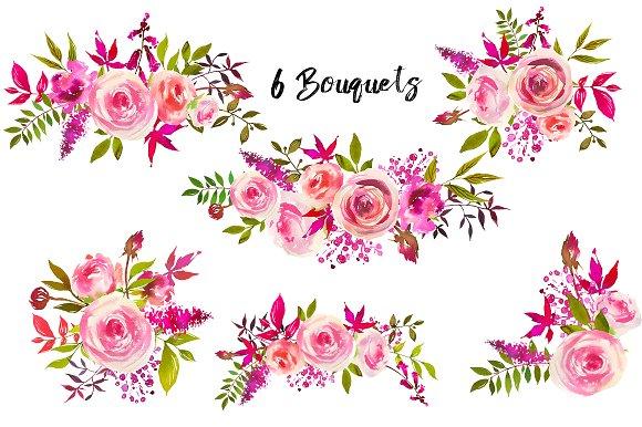 Watercolor clipart. August roses clip art