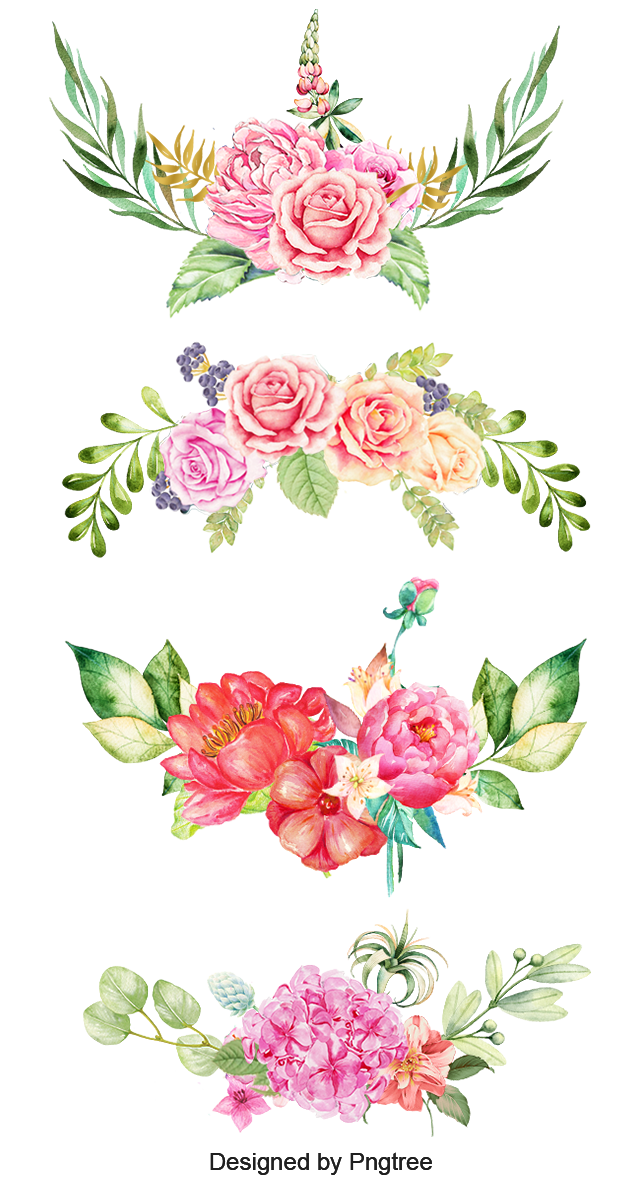 Watercolor flower border png. Flowers clipart the bottom
