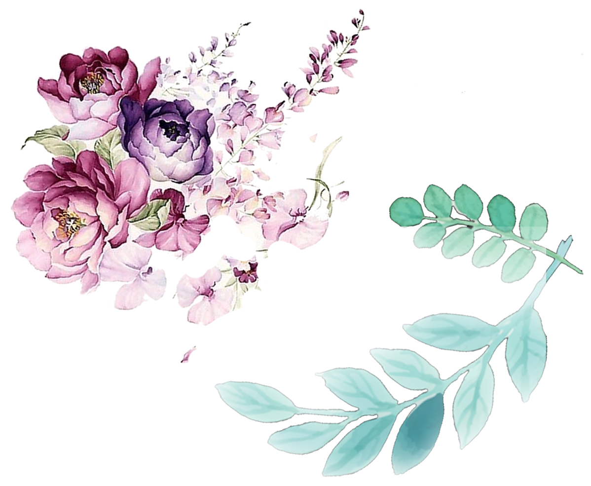 Floral design painting leaves. Watercolor flower png