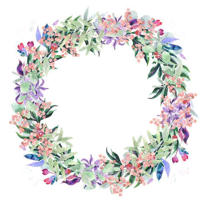 Watercolor flower wreath png. Free photo flowers spring