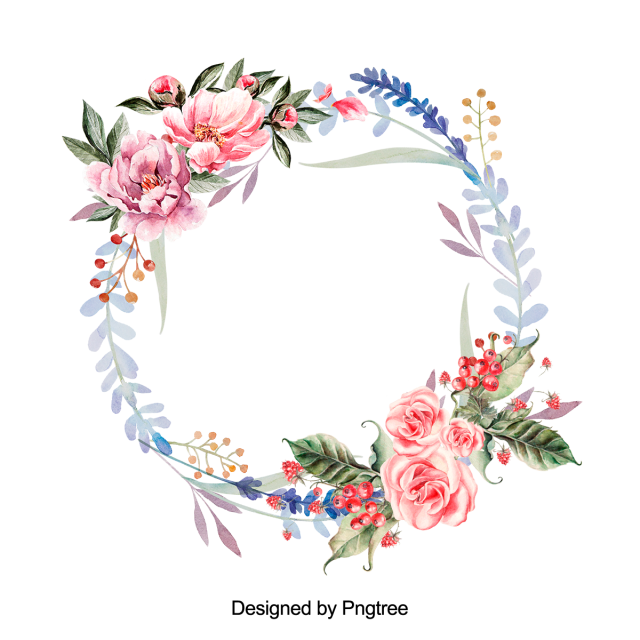 Beautiful hand paint floral. Watercolor flower wreath png
