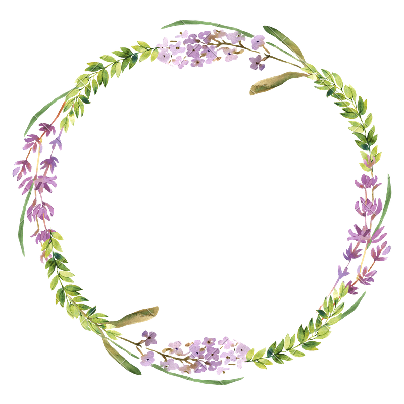 Watercolor flower wreath png. Wild flowers and lavender