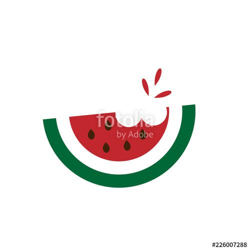 Slice of bitten icon. Watermelon clipart bite
