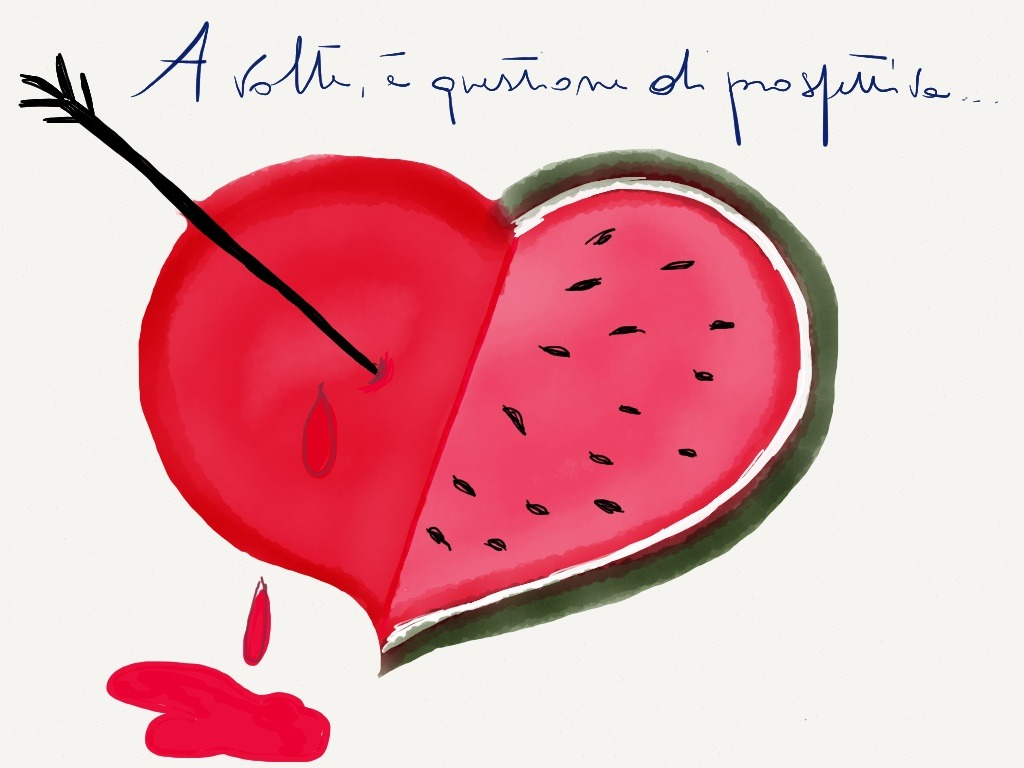 Watermelon clipart broken. Made with paper heart