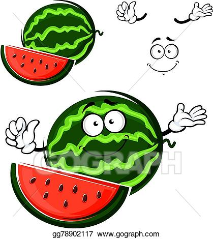 Watermelon clipart character. Vector art fruit cartoon