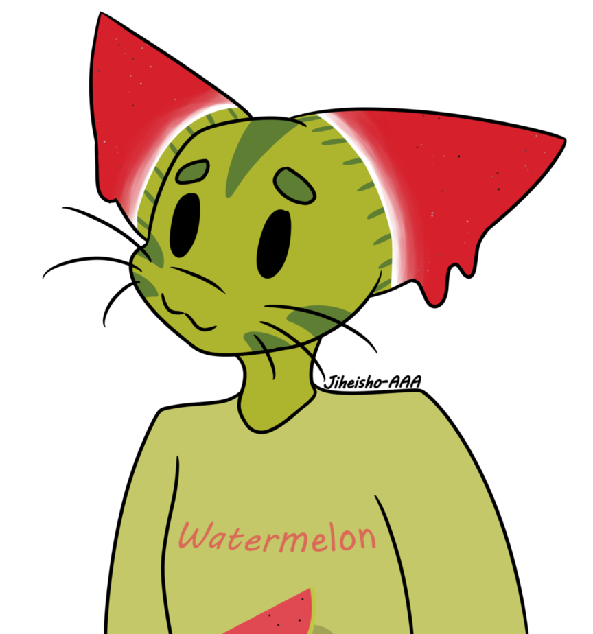 Cat on toyhouse details. Watermelon clipart character