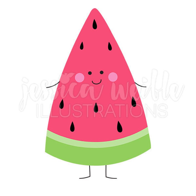 Happy cute digital clip. Watermelon clipart character