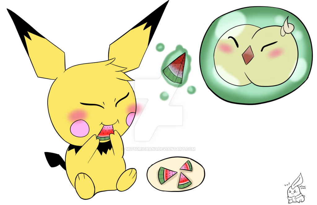 Commission pichu solosis by. Watermelon clipart chibi