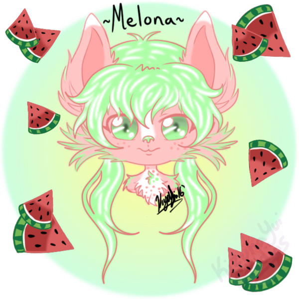 Melona digital headshot secret. Watermelon clipart chibi