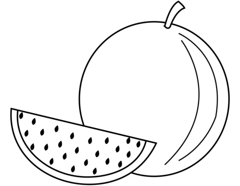 Free printable pages . Watermelon clipart coloring page