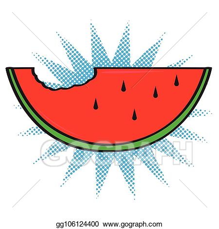Watermelon clipart comic. Vector isolated icon