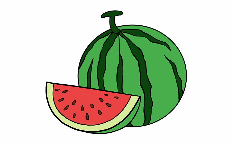 Watermelon clipart easy. How to draw slice