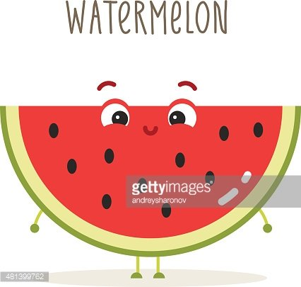 Cartoon with eyes on. Watermelon clipart eye