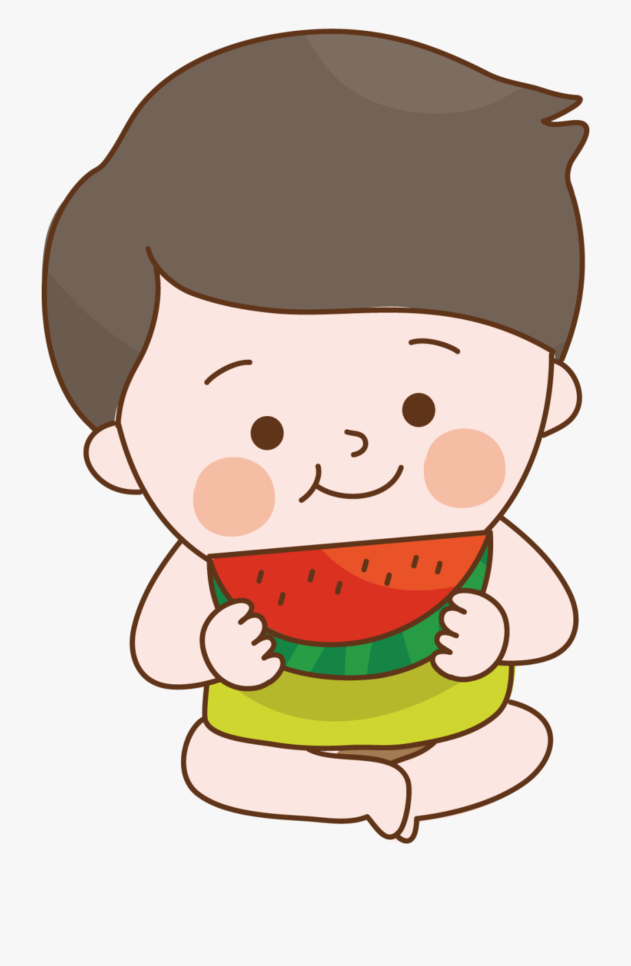 Watermelon clipart healthy snack. Child food sitting to