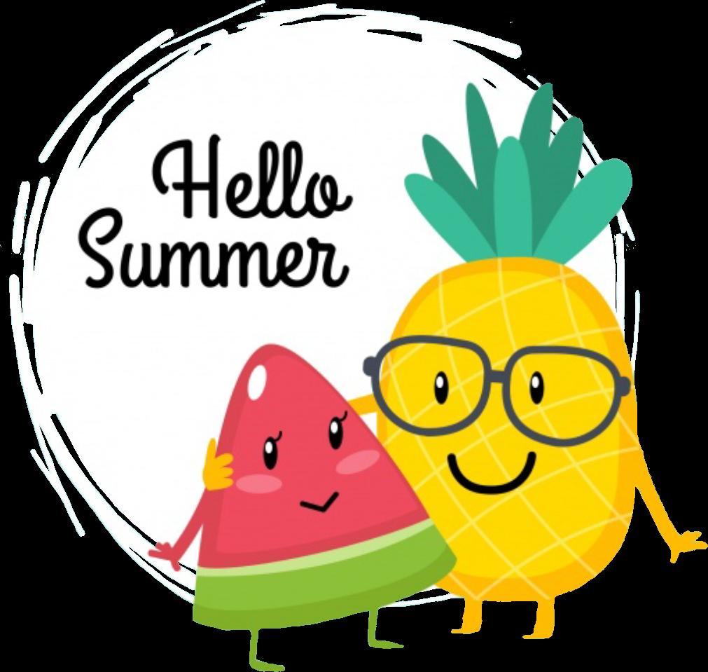 Pineapple clipart watermelon. Hellosummer summer friends buddies