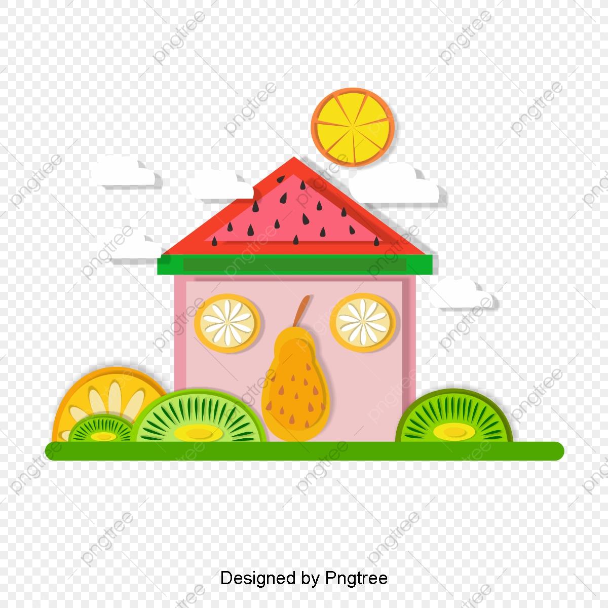 Watermelon clipart house. Simple natural landscape element