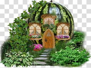 Fairy castle illustration transparent. Watermelon clipart house