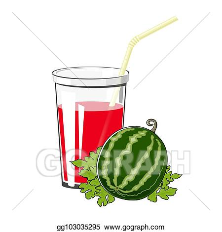 Watermelon clipart juices. Vector illustration glass with