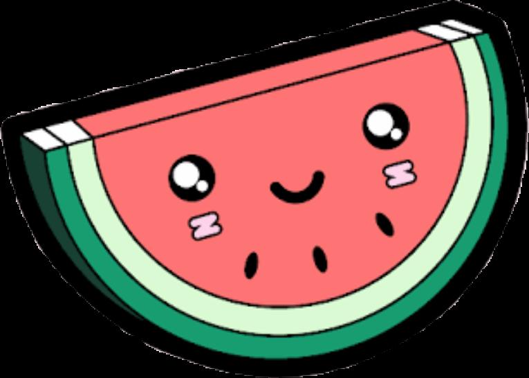 Tumblr melancia sticker by. Watermelon clipart kawaii