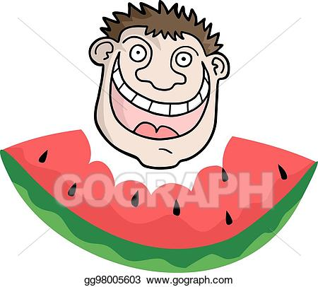 Eps illustration funny face. Watermelon clipart mouth