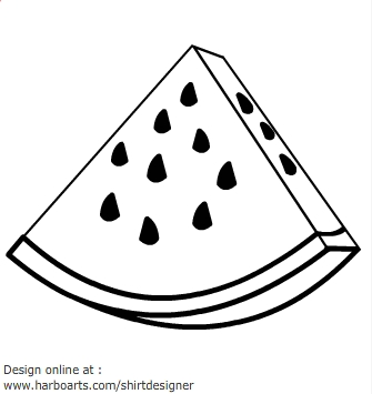 Watermelon clipart outline. Free black and white