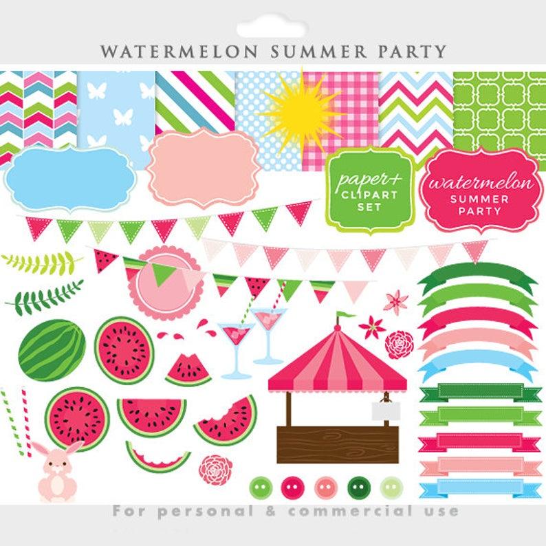 Clip art summer fruit. Watermelon clipart party