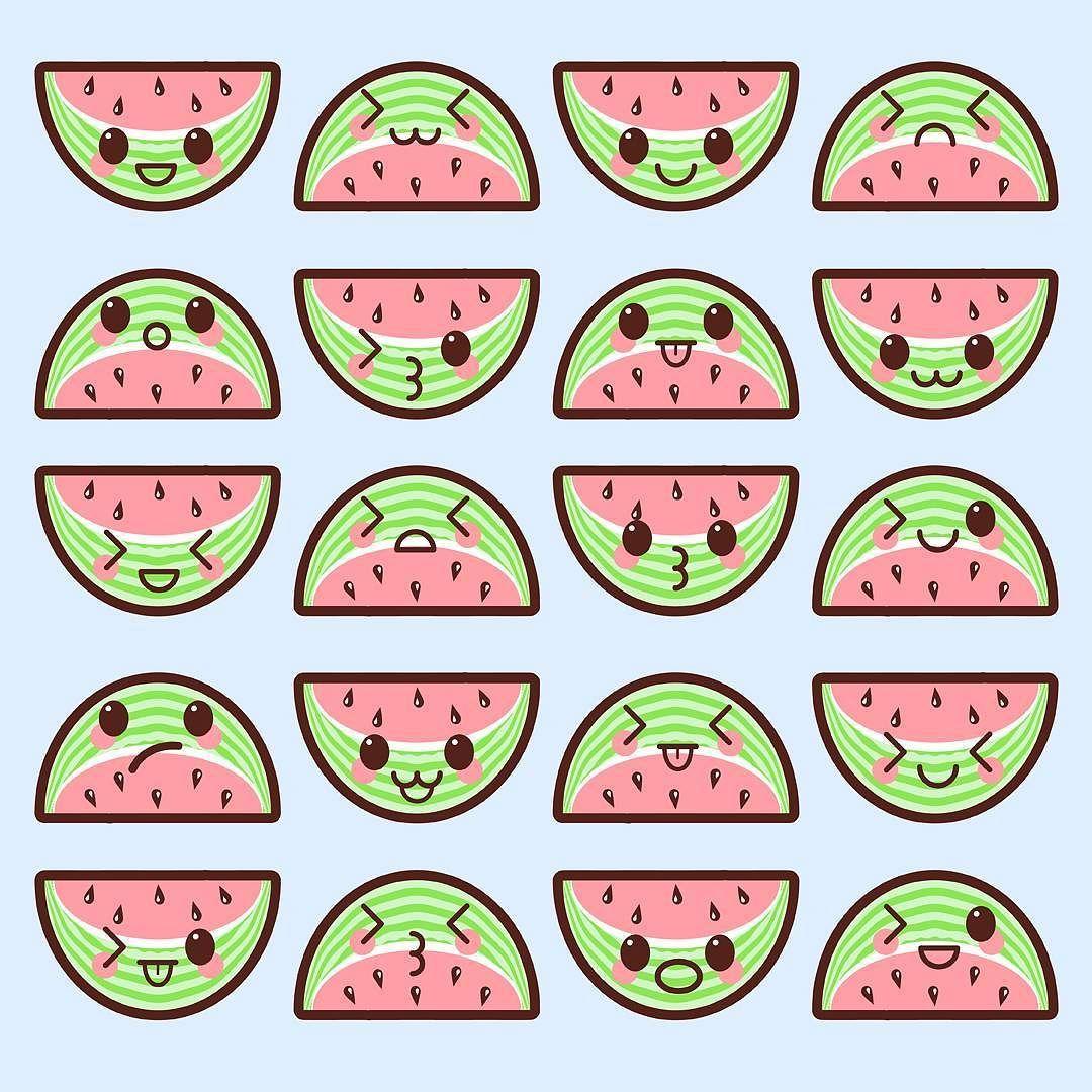 Kawaii watermelons cute anime. Watermelon clipart pastel