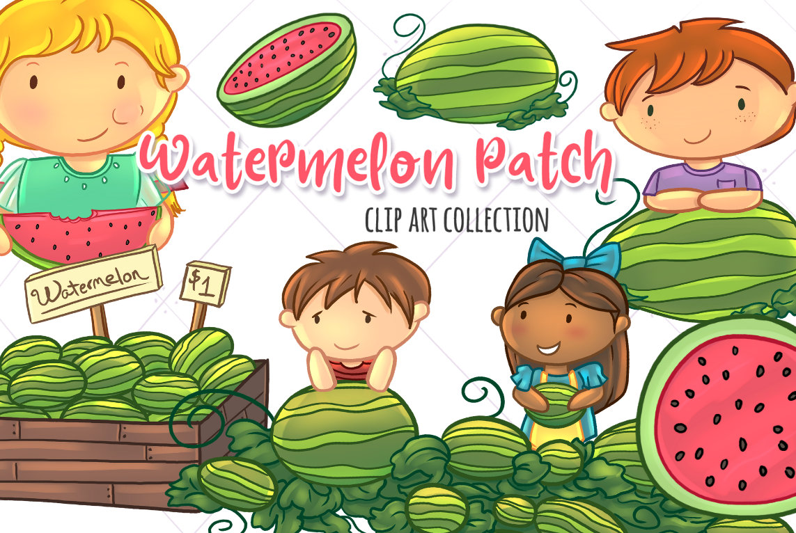 Kids clip art set. Watermelon clipart patch