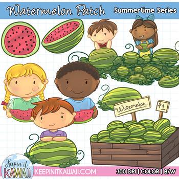 Watermelon clipart patch. Kids clip art mini