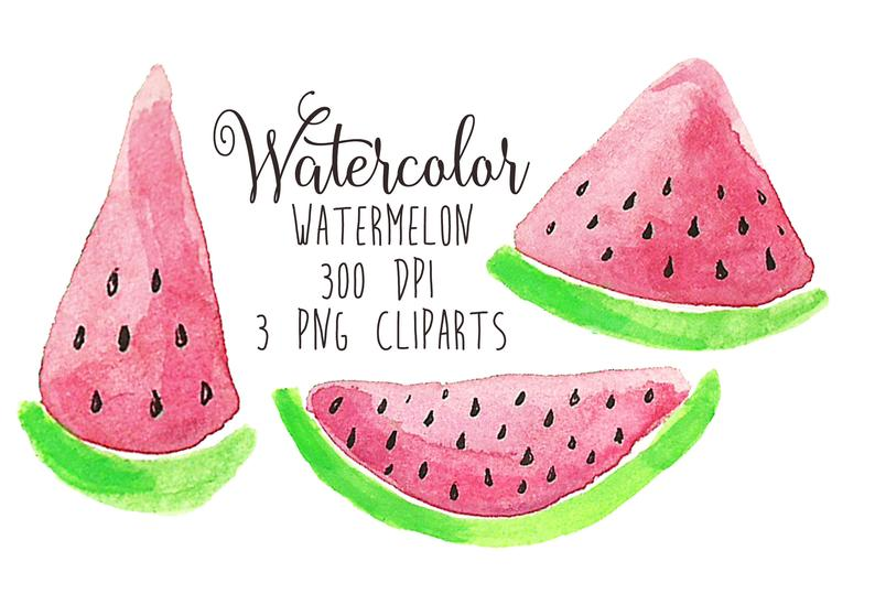 Watercolor download party clip. Watermelon clipart picnic item